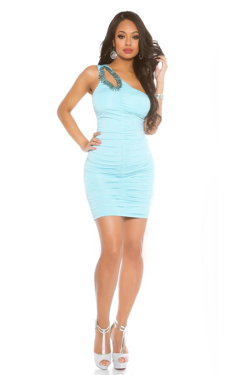 Aukso spalvos satino imitacijos suknelė