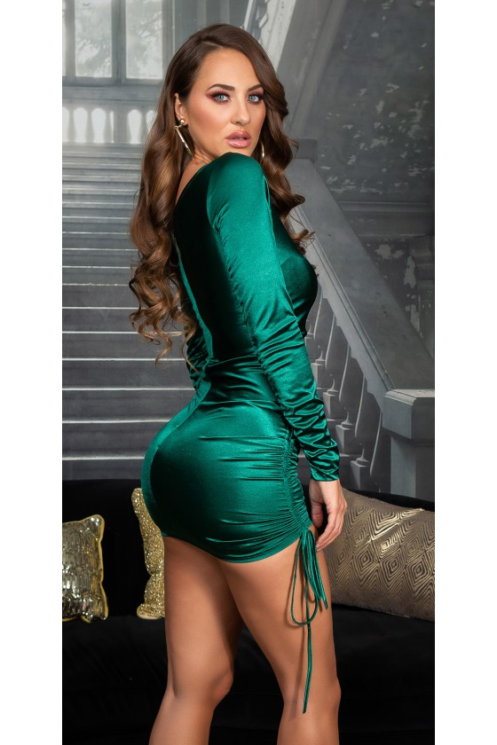 Žalios spalvos satino imitacijos suknelė_169157