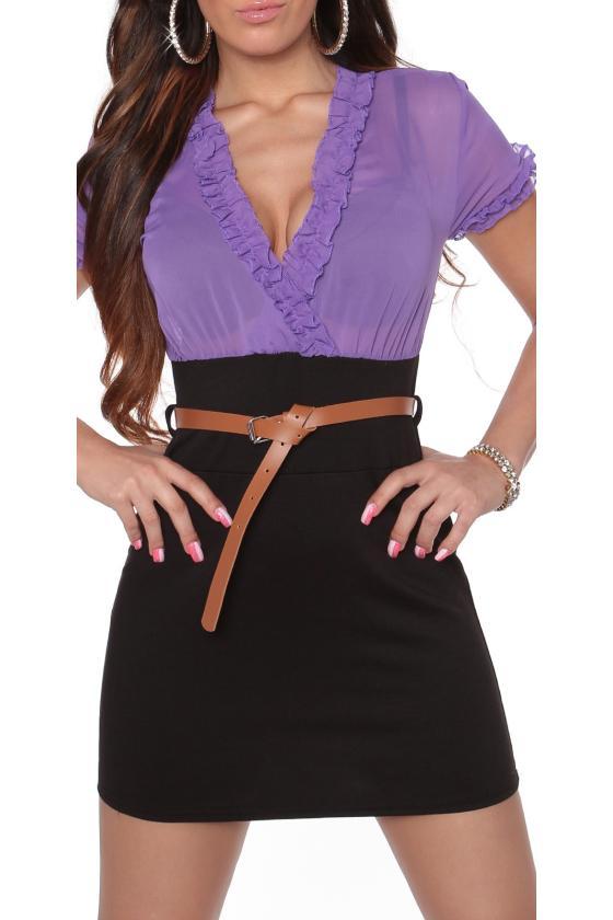 Raudona laisvalaikio suknelė su diželiu