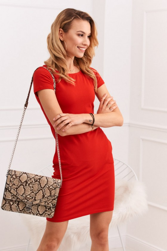 Raudona laisvalaikio suknelė su kišenėmis_170379