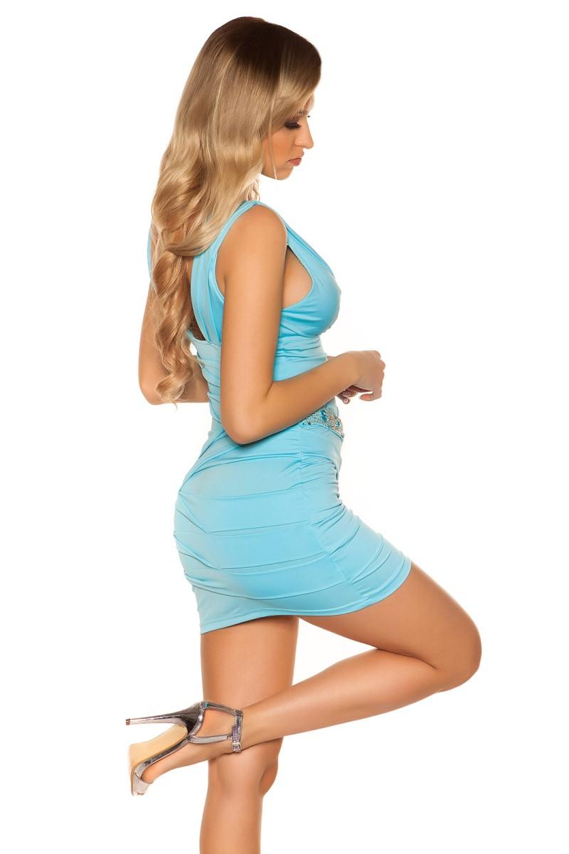 Elegantiška juoda vidutinio ilgio suknelė