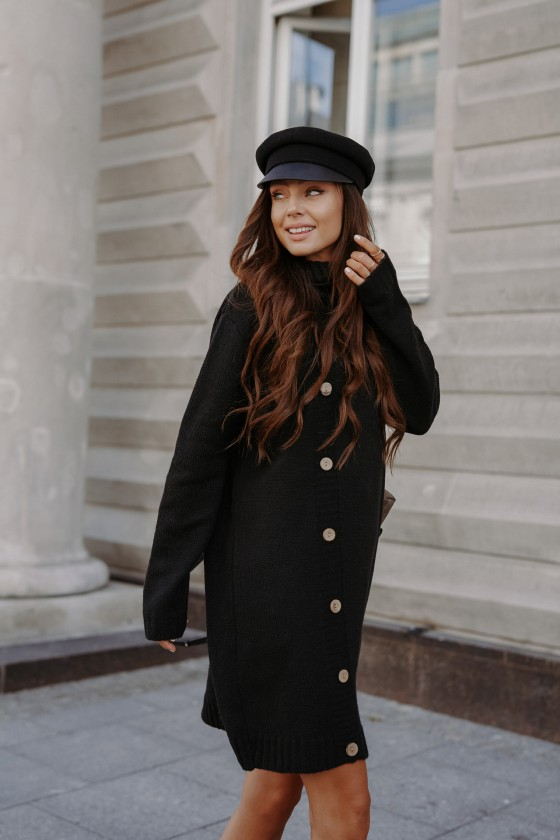 Juodos spalvos suknelė aukštu kaklu_171058