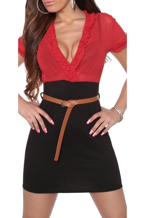 Tamsiai mėlynos spalvos megzta suknelė atvirais pečiais_171175