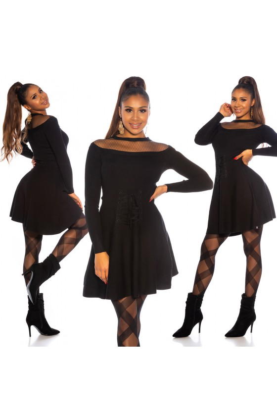 Juodos spalvos suknelė dekoruota korsetu_171187