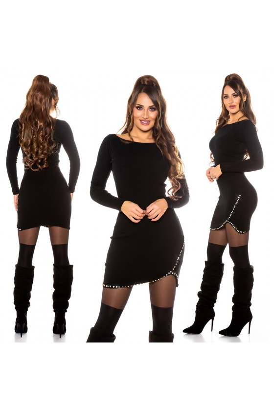 Juodos spalvos megzta suknelė_171302