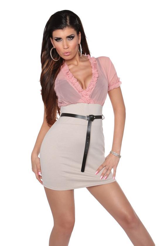 Tamsiai mėlynos spalvos megzta suknelė