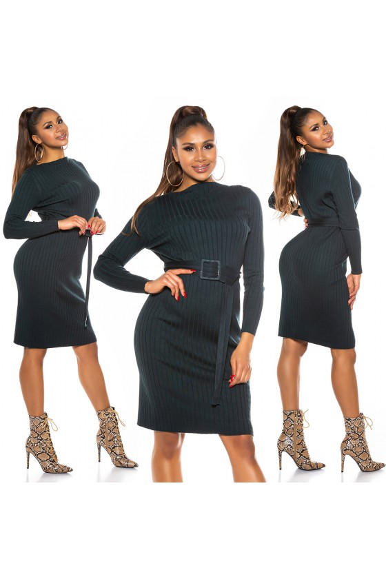 Chaki spalvos megzta suknelė su dirželiu_172041