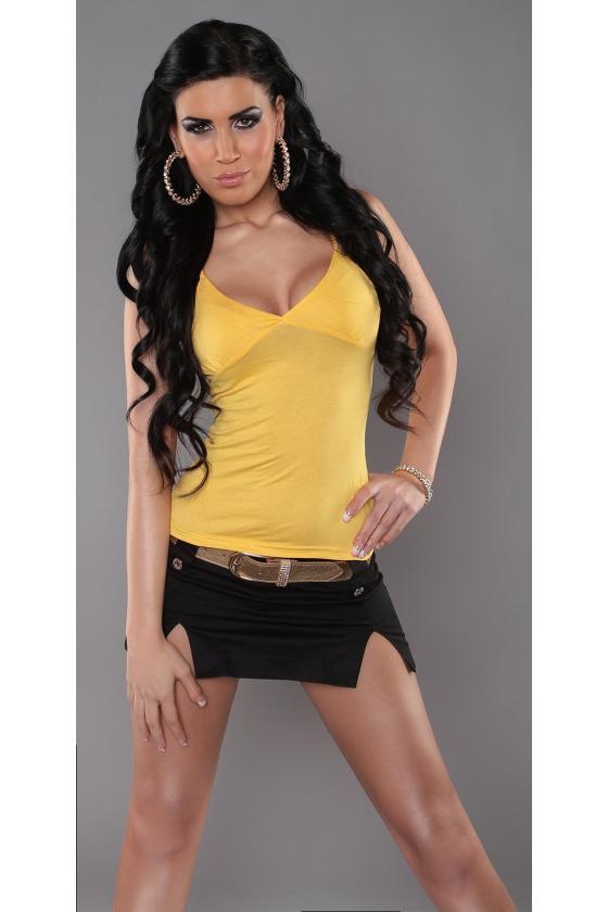Geltonos spalvos megzta suknelė su dirželiu_172047