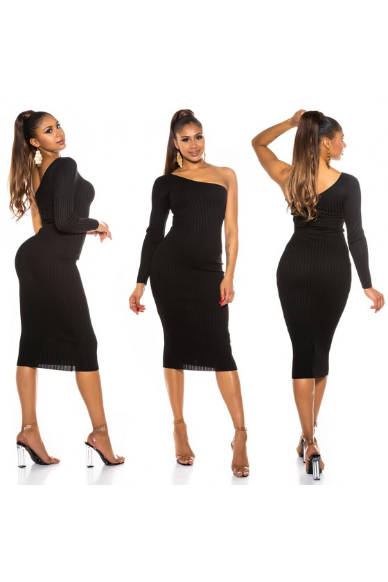 Juodos spalvos asimetriška suknelė_172071