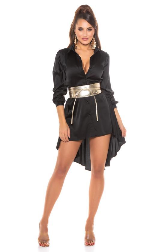 Šlapio efekto juoda mini suknelė_173072