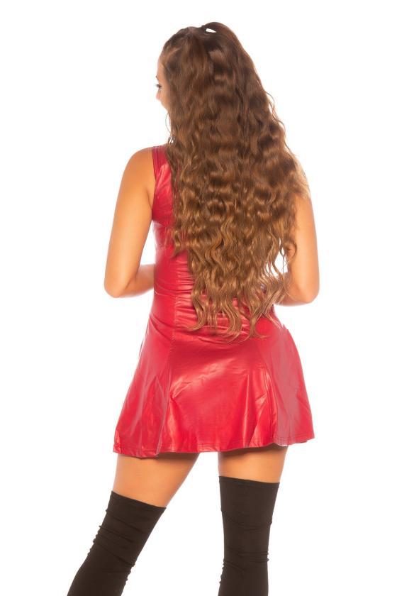 Rožinės spalvos satino imitacijos suknelė