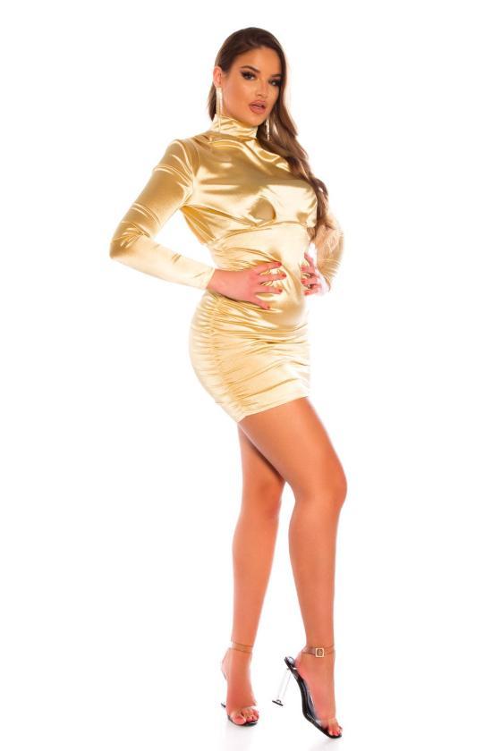 Mėtų spalvos megzta suknelė dekoruota sagomis