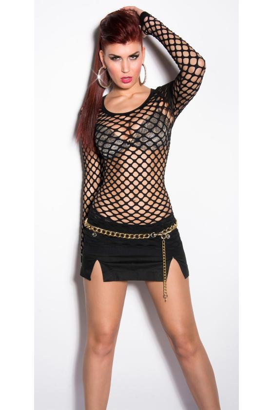 Baltos spalvos megzta suknelė dekoruota sagomis_175369