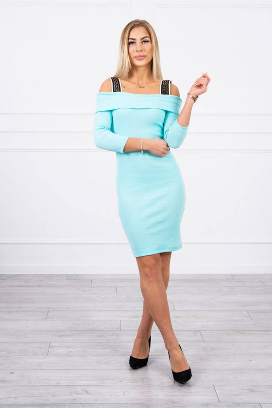 Žydros spalvos suknelė atvirais pečiais_175778