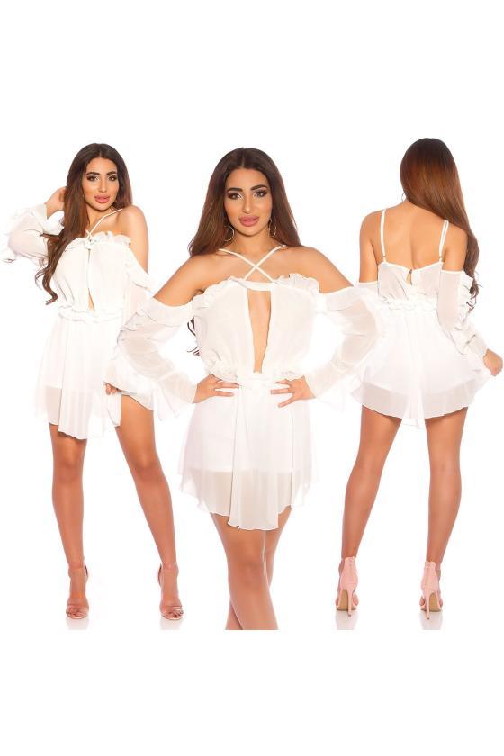 Žydros spalvos suknelė atvirais pečiais_175779