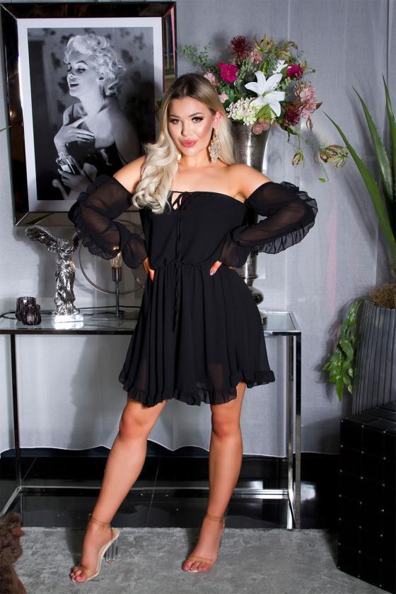 Mėlynos spalvos suknelė atvirais pečiais_175834