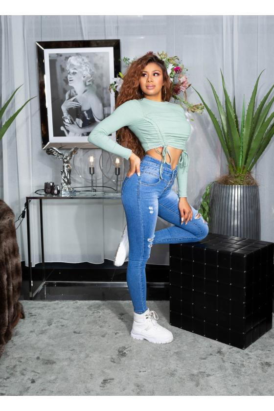 """Žydros spalvos marškinėliai trumpomis rankovėmis """"Kiss""""_176230"""