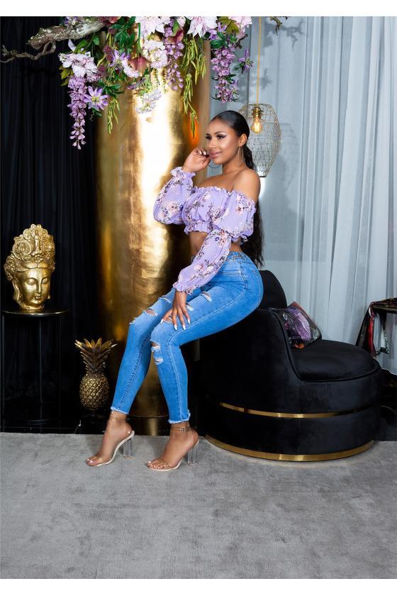 Mėlynos spalvos oversize tunika su aplikacija_176390