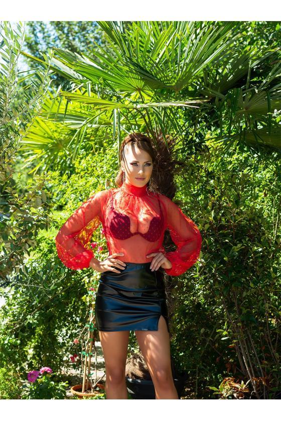 Žalios spalvos odos imitacijos kelnės