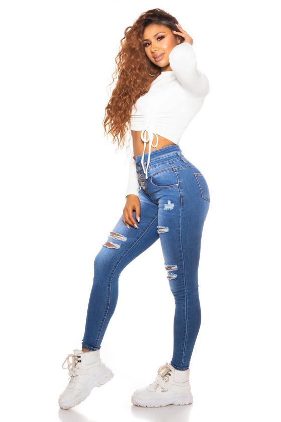 Baltos spalvos plėšyti džinsai su tinkleliu