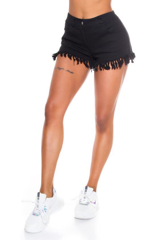 Juodos spalvos odos imitacijos laisvalaikio kelnės_178008