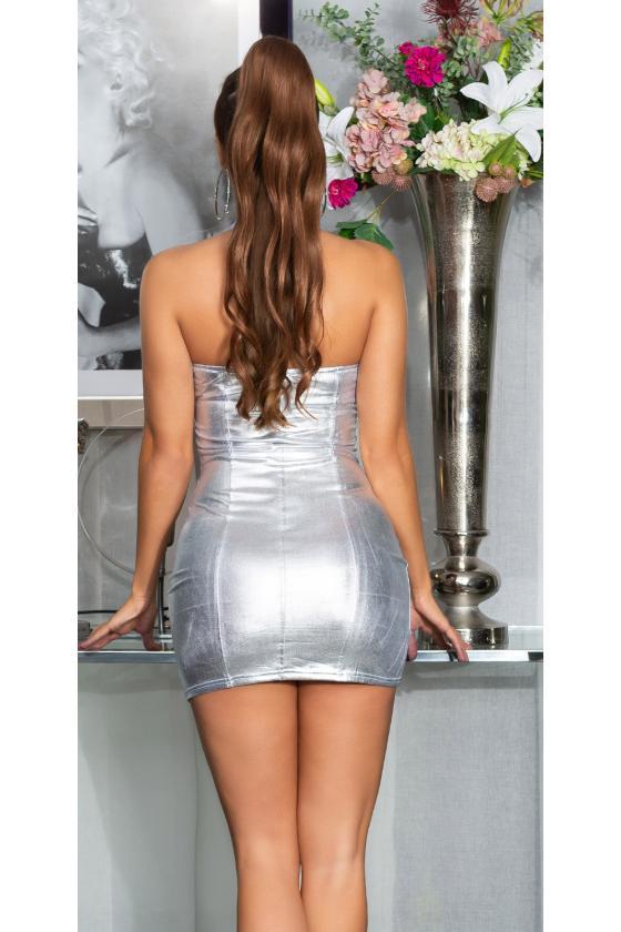 Juodos spalvos odos imitacijos laisvalaikio kelnės