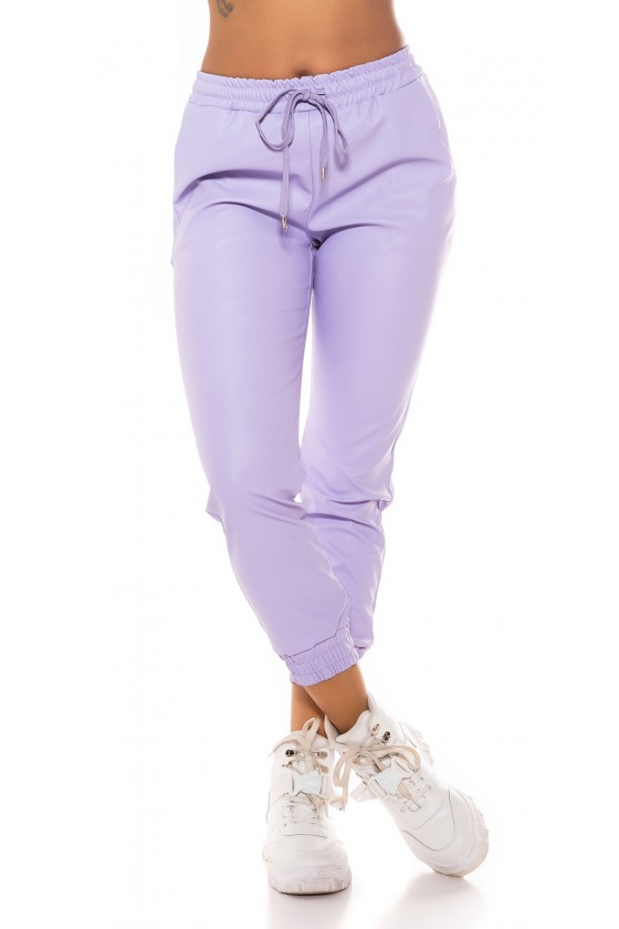 Violetinės spalvos odos imitacijos laisvalaikio kelnės_178016