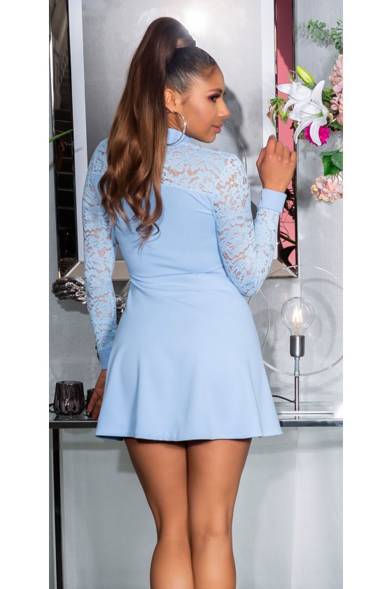 Žydros spalvos suknelė su nėrinių rankovėmis_179351