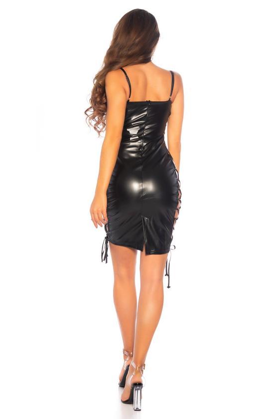 Smėlio spalvos suknelė dekoruota nėriniais_179827