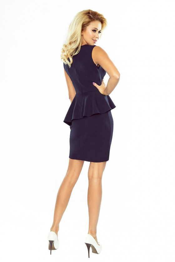 Tamsiai mėlyna peplum stiliaus asimetriška suknelė_179863