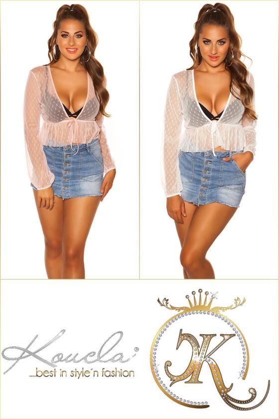 Elegantiška chaki spalvos palaidinė-marškiniai su kaspinu_182821