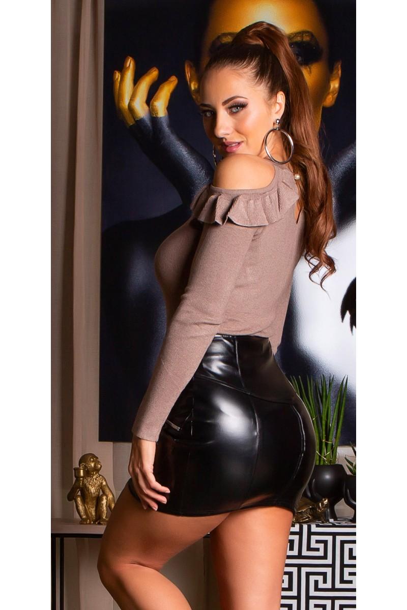 Raudonos spalvos elegantiška suknelė ELENA