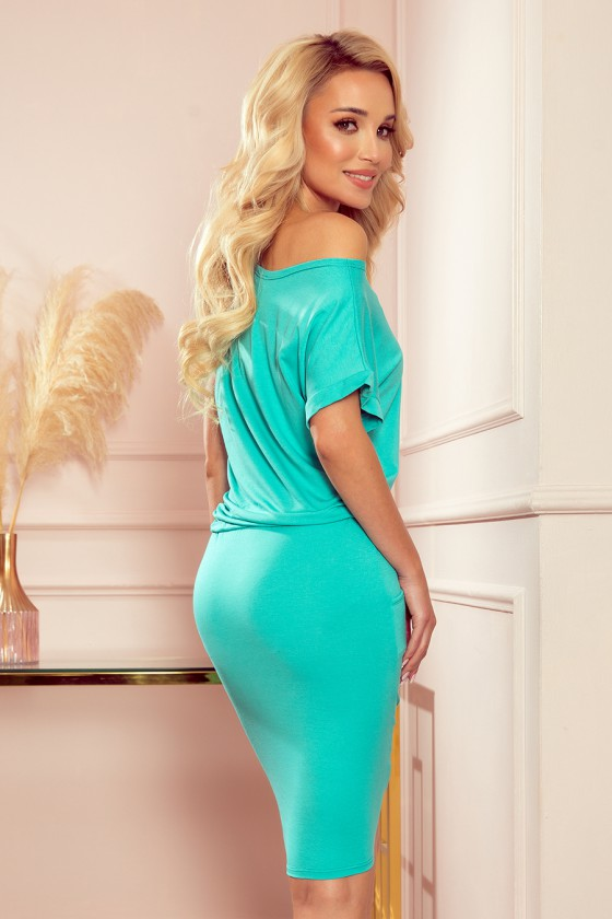 Mėtų spalvos laisvalaikio suknelė su kišenėmis_187505