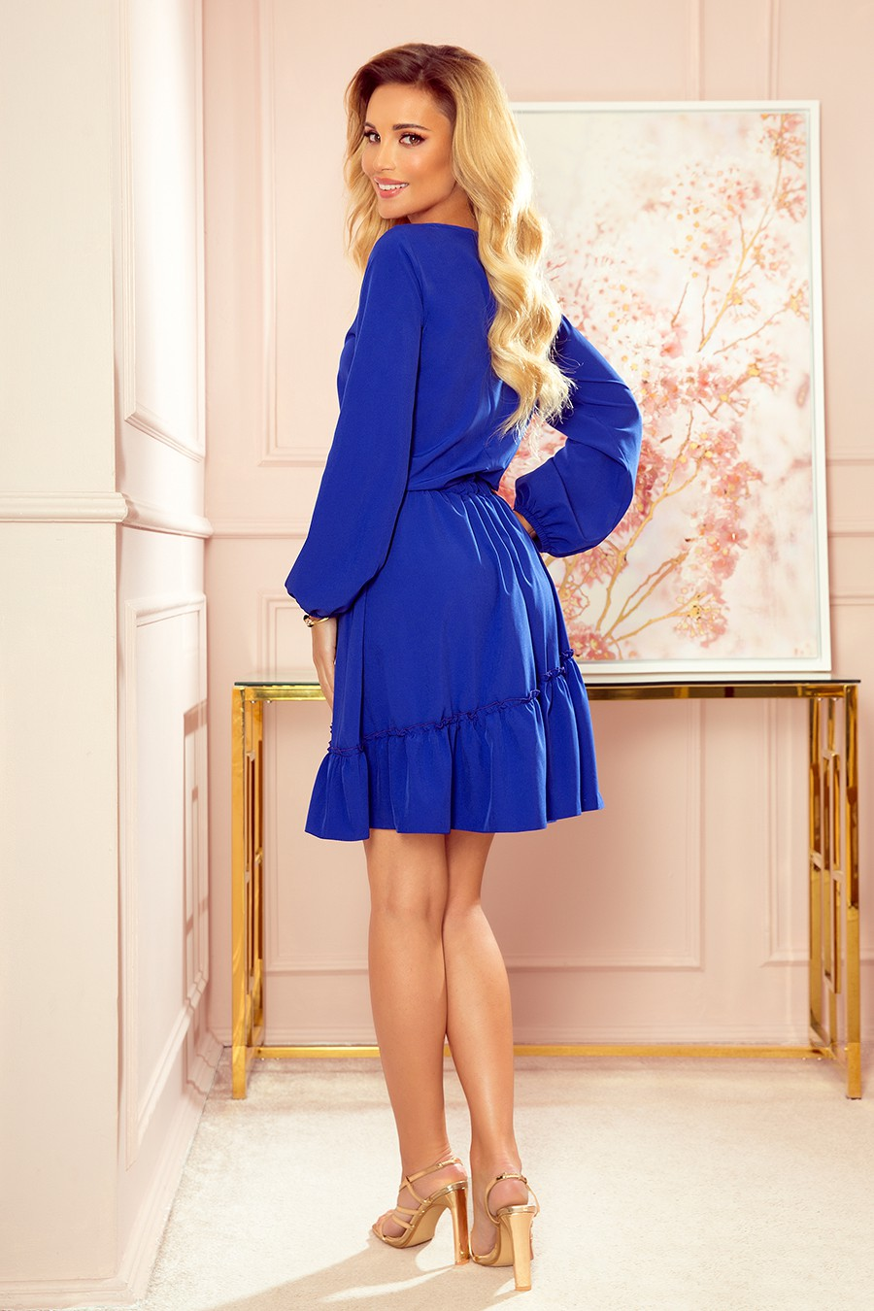 Tamsiai mėlynos spalvos asimetriška suknelė_188021
