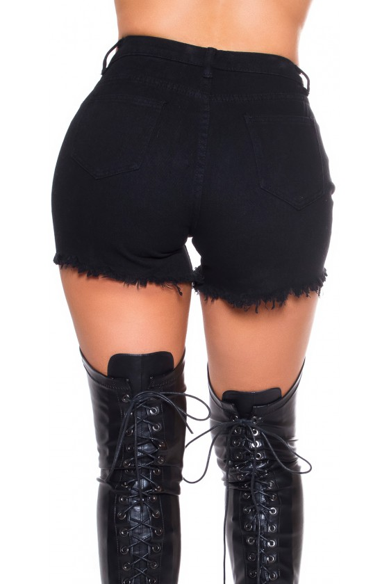Juodos spalvos plėšyti šortai_188427