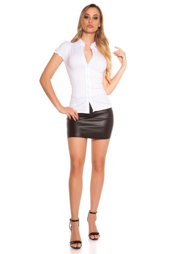 Raudonos spalvos šlapio efekto kelnės su iškirpimais