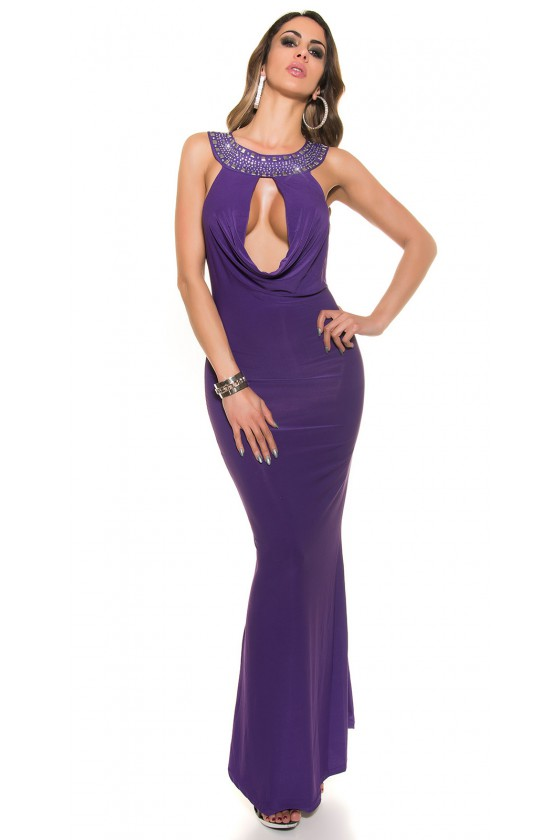 Violetinės spalvos ilga vakarinė suknelė_192419