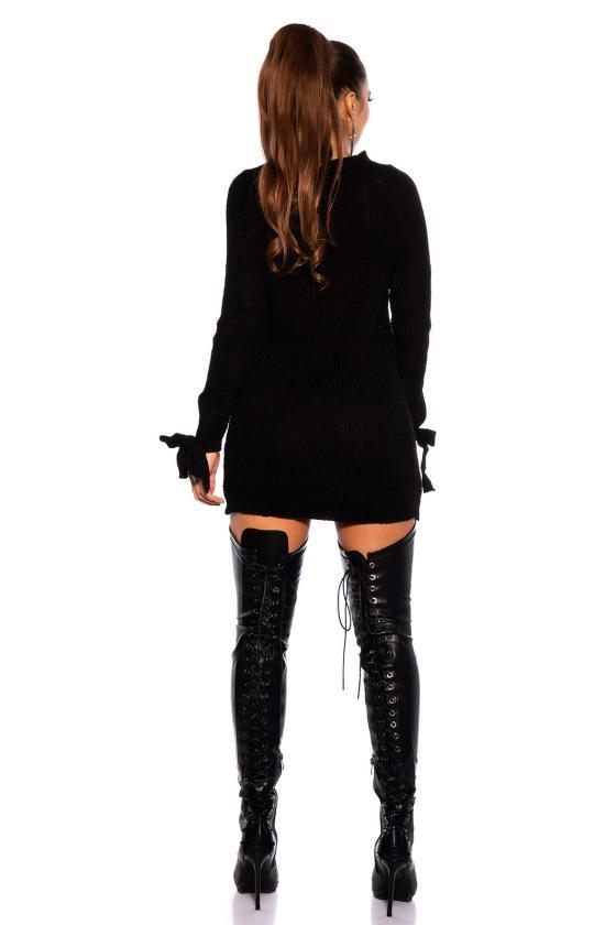 Žalios spalvos suknelė dekoruota sparnų aplikacijomis_192902