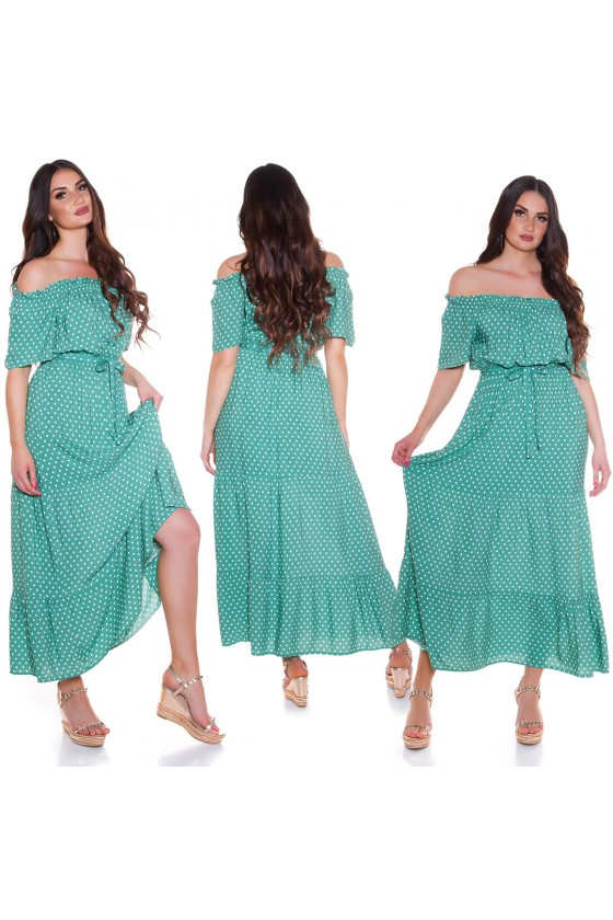 Žalios spalvos taškuota suknelė_193907