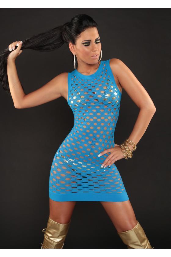 Mėlynos spalvos suknelė su raštais
