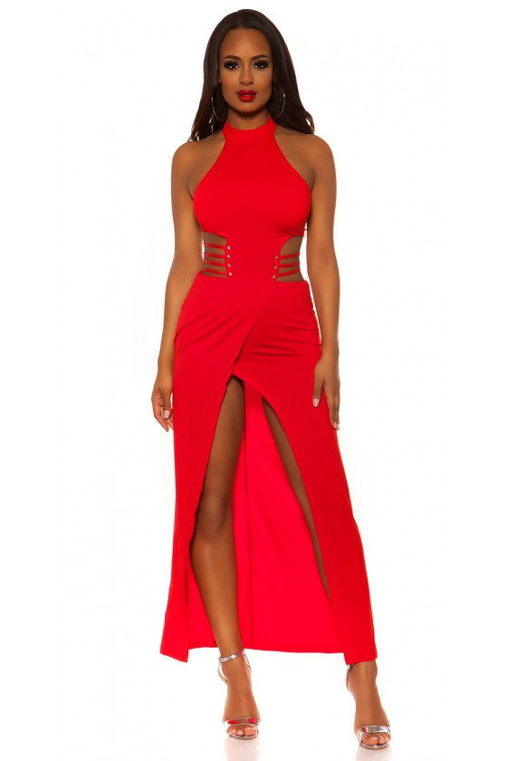 Raudonos spalvos ilga suknelė su praskiepu_196382