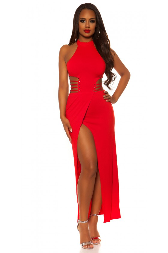 Raudonos spalvos ilga suknelė su praskiepu_196384
