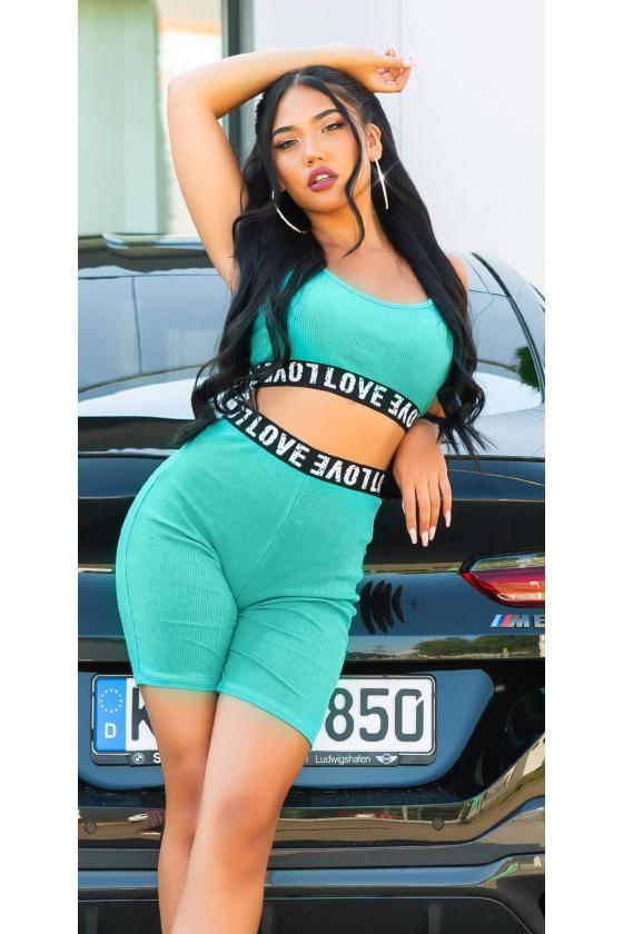 Žalios spalvos megztinis su kiauriaraščiu_196937