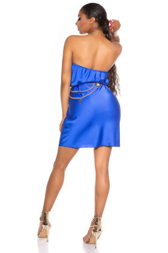 Ilga juodos spalvos satino imitacijos suknelė atvira nugara