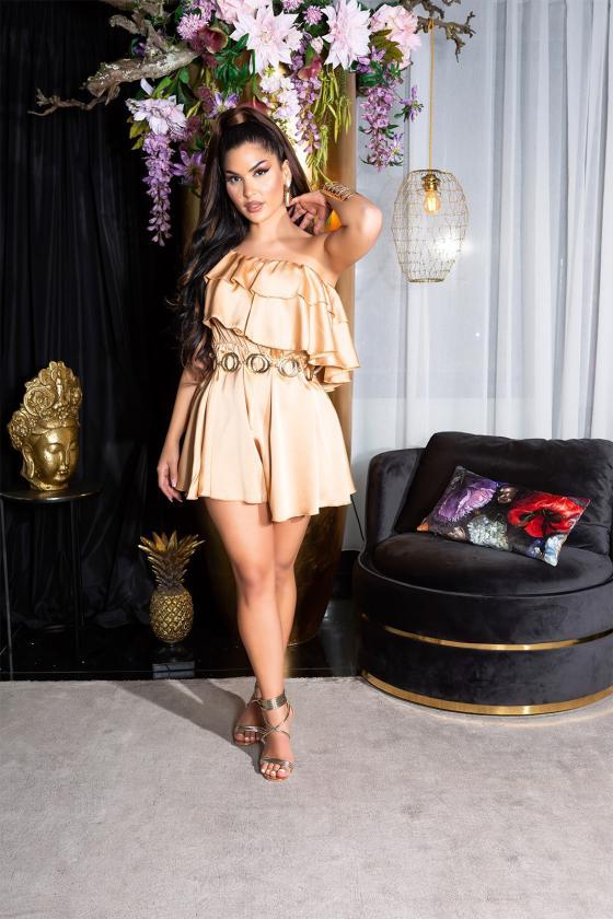 Žydros spalvos ilga satino suknelė_199833