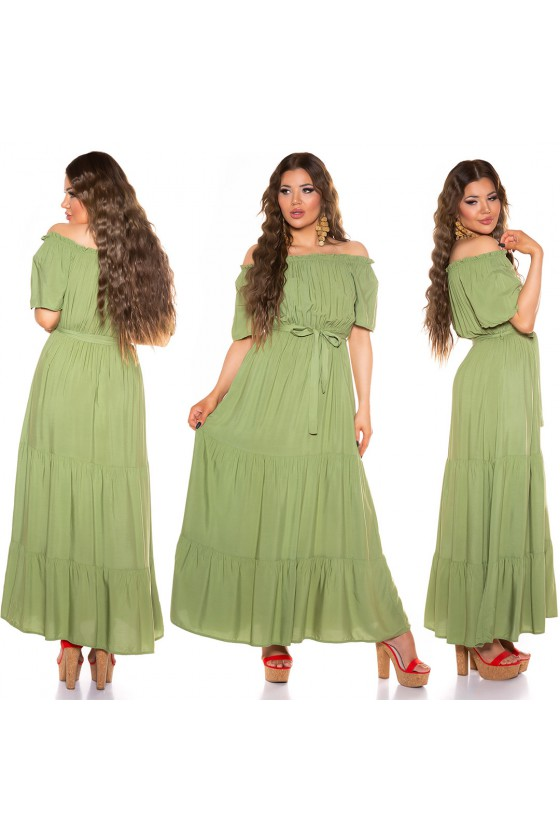 Chaki spalvos ilga suknelė_200256