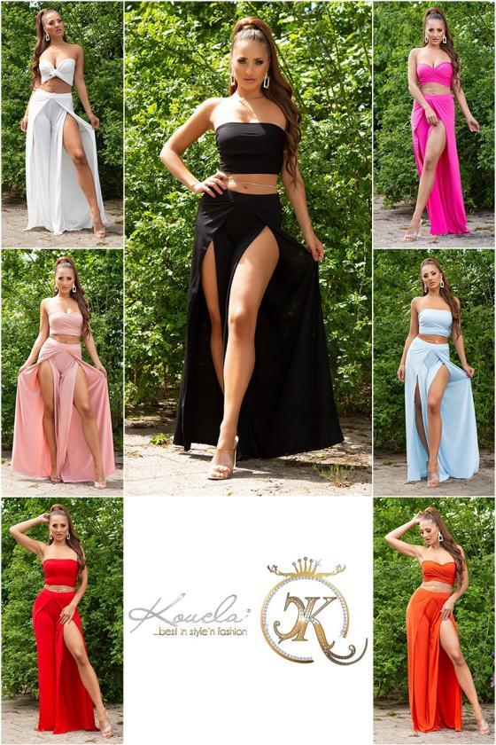 Chaki spalvos ilga suknelė