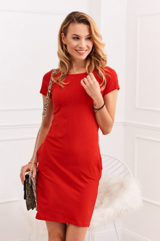 Raudona laisvalaikio suknelė su kišenėmis