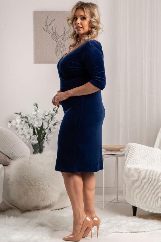 Pudros spalvos laisvalaikio suknelė su kišenėmis
