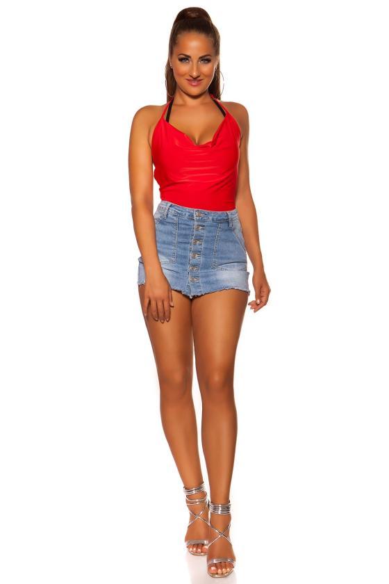 Raudonos spalvos elegantiškos kelnės